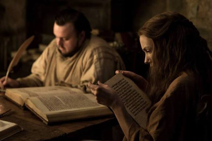 Sam Tarly y Gilly en la biblioteca de Antigua