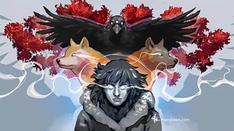 Bran Stark el Gran Verdevidente, cuervo de tres ojos, huargos