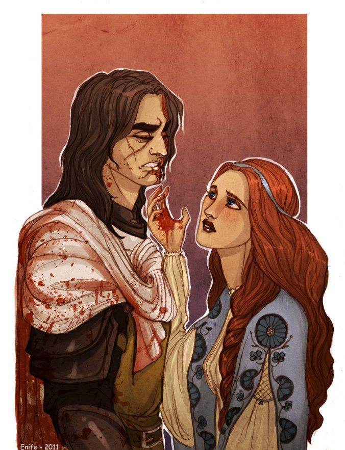 Sandor Clegane, El Perro, y Sansa Stark en Choque de Reyes
