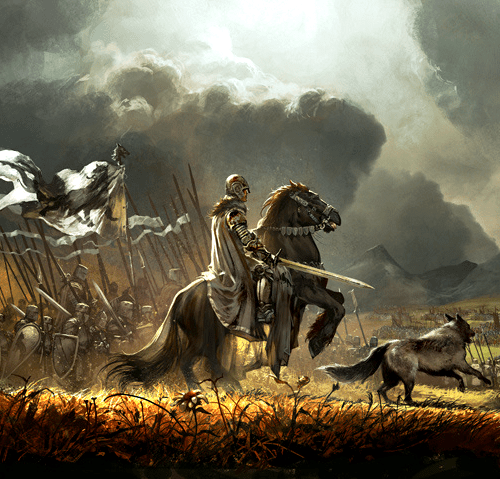 Robb Stark y Viento Gris con su ejército