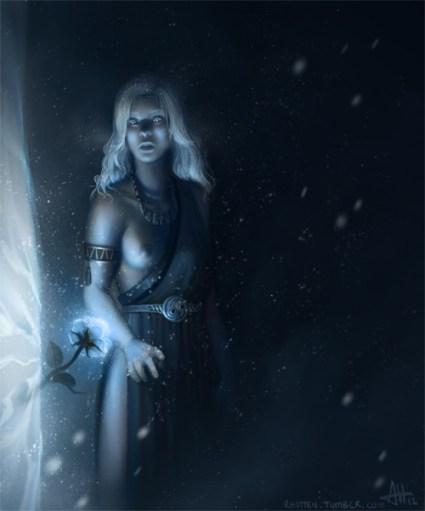 Daenerys en la Casa de los Eternos con la flor azul en el muro de hielo