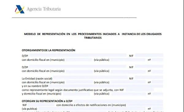 Modelo de Representación en los procedimientos iniciados a instancia de los obligados tributarios