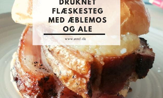 Druknet flæskestegsandwich med æblemos og ale