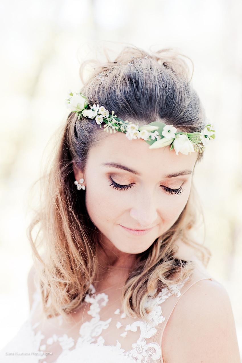couronne de fleurs, Marion, mariée, maquillage mariage, coiffure de mariage