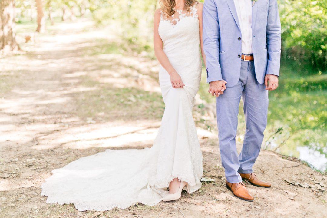 robe de mariée, robe sirène, costume bleu, mariés, couple