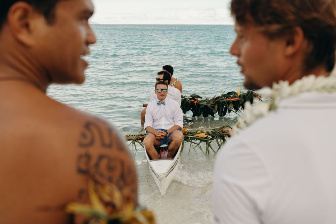 pirogue, barque mariage, tahiti mariage, plage mariage
