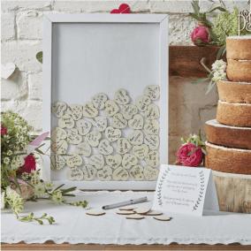livre d'or, jeu concours, mariage, livre d'or sous cadre blanc, coeur, souvenirs mariage
