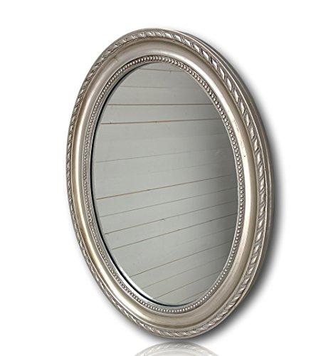 Wandspiegel oval in silber antik mit Patina 37 x 47cm | Spiegel barock aus Holz | im Landhausstil als Badspiegel | Schminkspiegel bzw. Frisierspiegel für das Landhaus