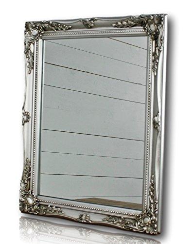 Wandspiegel rechteckig in silber antik mit Patina 37 x 47cm | Spiegel barock aus Holz | im Landhausstil als Badspiegel | Schminkspiegel bzw. Frisierspiegel für das Landhaus