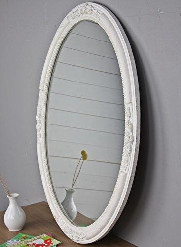 elbmöbel Wandspiegel Oval in weiß antik mit Patina 77 x 57cm im Landhausstil mit Holzrahmen