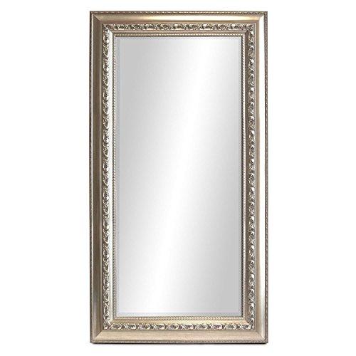 WOHAGA® Garderobenspiegel, elegant verziert, Facettenschliff, 140x60cm, Silberfarben / Flurspiegel Barspiegel Frisierspiegel Spiegel Wandspiegel