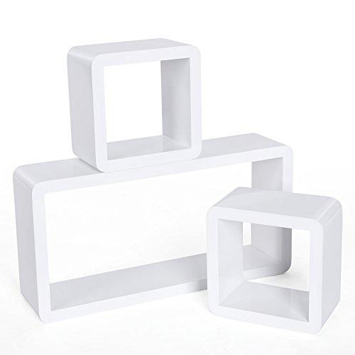 Songmics 3er Set Trendiges Design Wandregal Cube Regal Belastbarkeit 15 kg