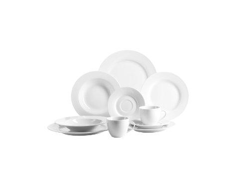 Domestic by Mäser, Serie Modesta, Kombiservice Dessertteller, Teller flach und Teller tief, überzeugt mit einer schönen Form und glänzt mit ihrem schimmernden Weiß