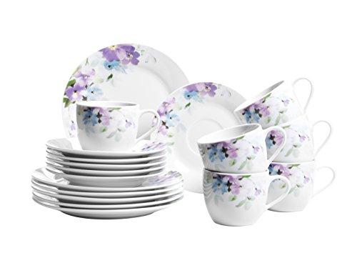 Domestic by Mäser, Serie Mona, Kombiservice 30-teilig mit je 6 Tassen, Untertassen, Desserteller