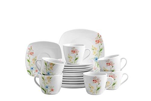 Domestic by Mäser, Serie Ontario, Kombiservice 30-teilig mit je 6 Tassen, Untertassen, Desserteller, Teller tief und Teller flach