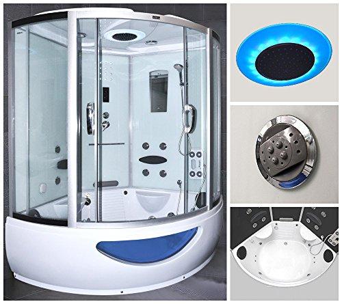 Home Deluxe Exclusive weiß Duschtempel, inkl. Whirlpool und Dampfsauna