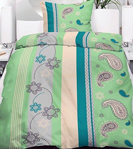 Leichte Sommer Bettwäsche als 2 oder 4 Set Bettgarnitur 135x200 / 80x80cm grau grün gestreift