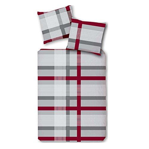 Luxus Microfaser Fleece Bettwäsche 135x200 cm Bettgarnitur Grau Rot