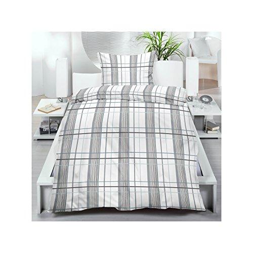 Microfaser Bettwäsche 135x200 cm 2 oder 4 tlg. aus 100% Polyester Bettgarnitur Sparset 70gr/m² in Weiß Grau Kariert