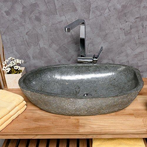 Naturstein Waschbecken ca. 60x40x15 cm groß Waschtisch Waschschale Findling OVAL