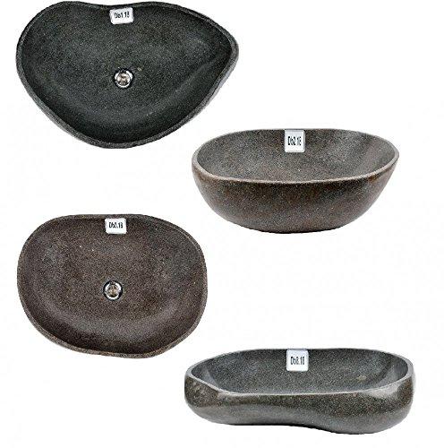 Große Auswahl an Naturstein Waschbecken Flußstein 55-65 cm Waschschale Findling poliert