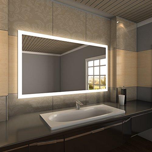 HOPE Badspiegel mit LED-Beleuchtung, rahmenloser Wandspiegel, rückseitig beleuchtet mit satinierten LED-Lichtbändern
