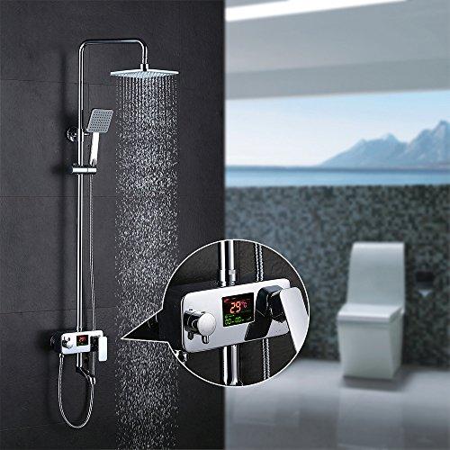 Homelody Duscharmatur Drei-Funktionen-Duschsystem mit LCD Wassertemperatur-Displayanzeige,Duschset mit Regendusche Handbrause Rainshower und Armatur für Duschen