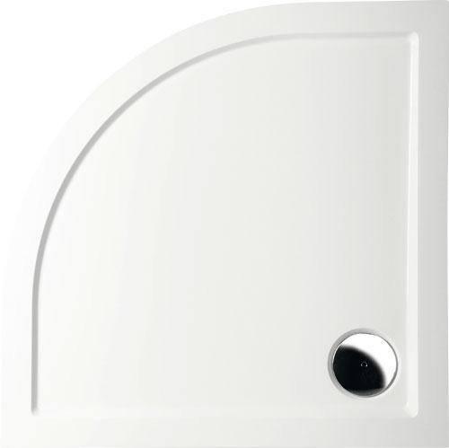 Mineralguss Duschwanne 90x90 Viertelkreis R50 - begehbare Dusche 900x900x40 mm, Weiß