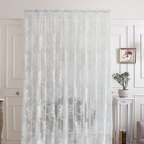 R.LANG Gardinen Wohnzimmer Schöne Blumen Vorhänge mit Kräuselband Oben Vorhang weiß