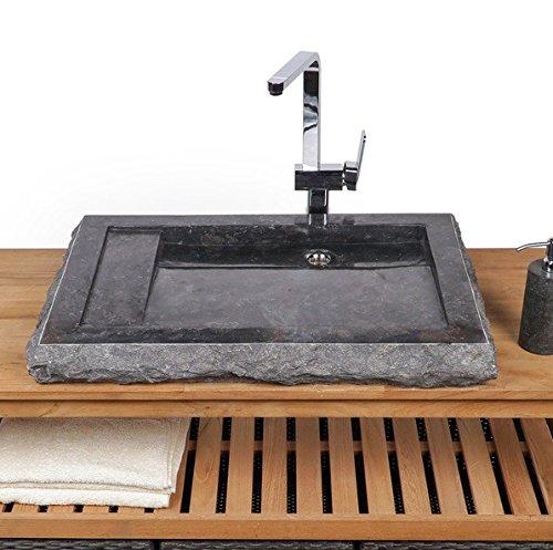 Wohnfreuden Naturstein Marmor - Waschbecken KOTAK Waschtisch 76x52x7 cm schwarz
