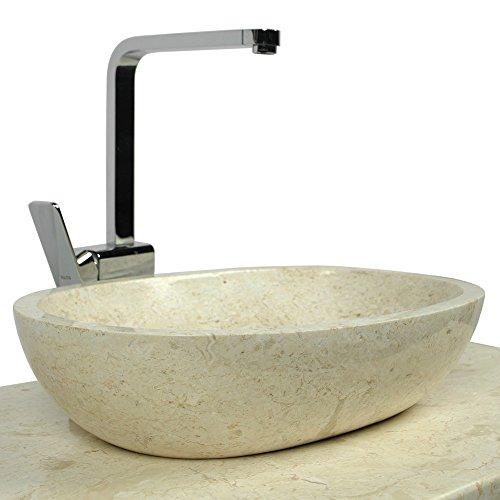Wohnfreuden Naturstein Waschbecken Marmor Mara 45 cm oval poliert ✓ Stein-Handwaschbecken Waschschale ✓ Top Kundenservice ✓ auf Lager & versandkostenfrei ✓