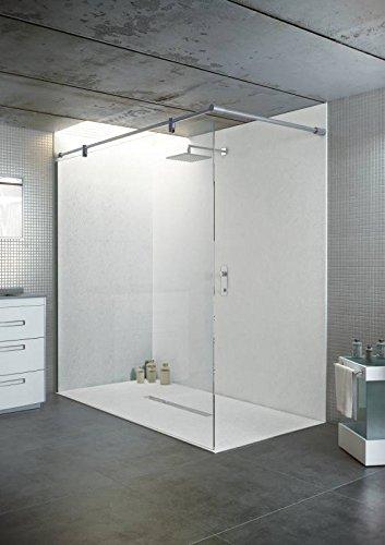 bodengleiche Duschwanne mit Duschrinne 140x100 aus Mineralguss - begehbare Dusche 100x140 - werkseitig einkürzbar