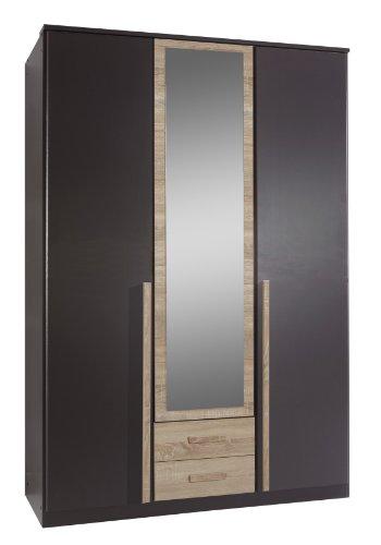 Wimex 117484 Drehtürenkleiderschrank 198 x 135 x 58 cm, Absetzung Eiche-sägerau-Nachbildung, Front und Korpus lavafarbig