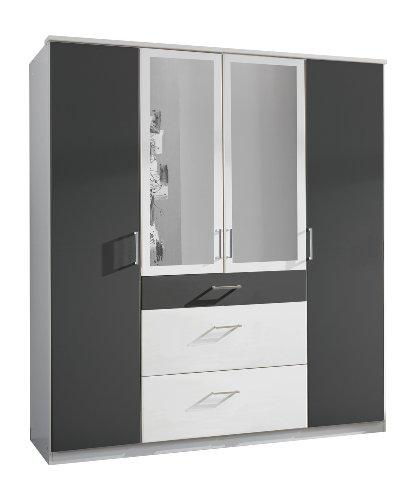 Wimex 147630 Kleiderschrank, 180 x 199 x 58 cm, 4-türig mit zwei breiten und einen schmalen Schubkasten, 2 Spiegel, Front und Korpus alpinweiß/ Absetzungen anthrazit