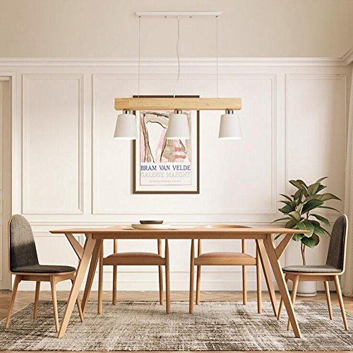 LED Pendelleuchte Esstisch Hängeleuchte Holz Hängelampe Pendellampe Warmweiß 3-flammig für Esszimmer Schlafzimmer Wohnzimmer Büro Restaurant Cafe (Weiß)