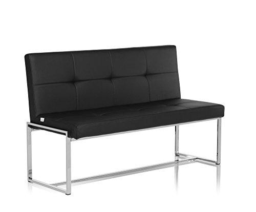 Sitzbank / Loungebank LIGHTHOUSE 20 Gestell Chrom Kunstleder 2,5-Sitzer schwarz hjh OFFICE