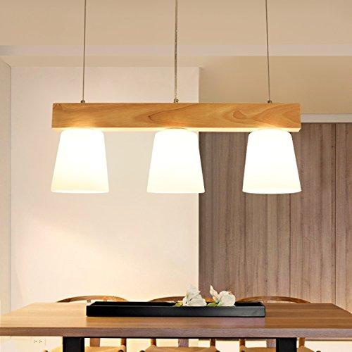 Esstischlampe Pendellampe Holz Esstisch Hängeleuchte Glas Pendelleuchte höhenverstellbar Wohnzimmerlampe Deckenlampe Deckenleuchte E27 3000K Warmweiß Hängelampe für Esszimmer Wohnzimmer Küche Wohnzimmer Büro Arbeitzimmer cafe