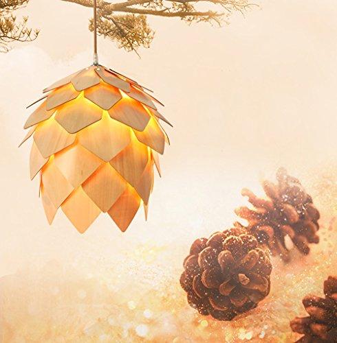 ZMH Pendelleuchte estisch Hängeleuchte Holz Pendellampe mit E27 Leuchtmittel Hängelampe Deckenleuchte Stimmung Kronleuchter Kiefernzapfen-Design für Kinder zimmer Flur Esszimmer Wohnzimmer Restaurant Bar Café (Maße: 500*530mm)