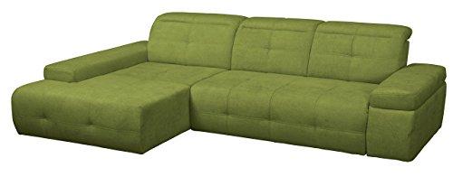 Cavadore Polsterecke Mistrel mit Longchair XL links / Eck-Couch mit verstellbaren Kopfteilen / Kopfteilverstellung / Wellenunterfederung / Maße: 273 x 77-93 x 173 cm (B x H x T) / Farbe: Grün