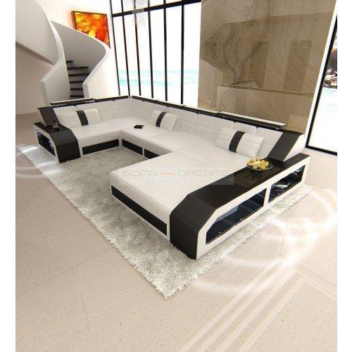 Couchgarnitur Arezzo U-Form weiss schwarz Designer Wohnlandschaft