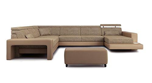 XXL Wohnlandschaft U-Form Stoff Leder sandbeige / braun Designsofa Sofa Couch Stoff Ecksofa mit LED-Licht Beleuchtung IMOLA