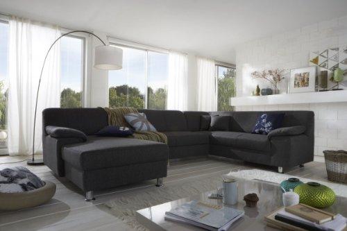 Dreams4Home Polsterecke Laguna Sofa Wohnlandschaft Couch U-Form Schlaffunktion grau strukturiert, Ausfühung Anschlag:Ohne Schlaffunktion - Ottomane rechts