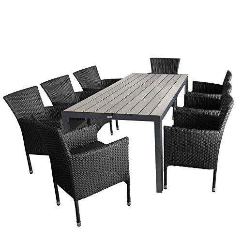 Multistore 2002 9tlg. Gartengarnitur Aluminium Gartentisch, Tischplatte Polywood Grau, 205x90cm + 8X Rattansessel, Bespannung Polyrattan, Schwarz - Gartenmöbel Set Sitzgarnitur Sitzgruppe