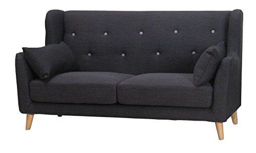 Sofa RETRO 2-Sitzer in anthrazit grau Couch Stoff Polstersofa Sitzmöbel