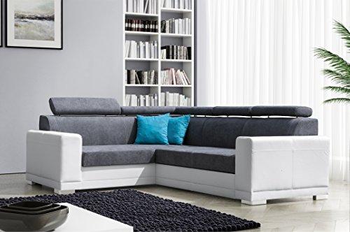 mb-moebel Ecksofa Eckcouch mit Bettkasten Sofa Couch L-Form Polsterecke Grau Weiß Nile II (Ecksofa Links)