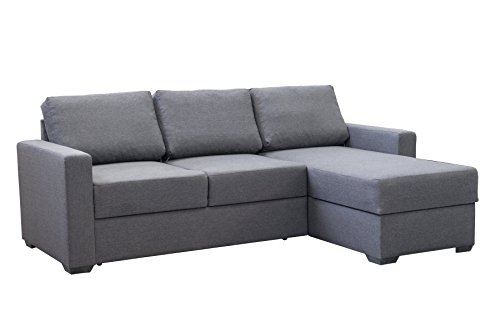 mb-moebel Ecksofa Eckcouch mit Bettkasten Sofa Couch L-Form Polsterecke Niger (Grau, Ecksofa Rechts)