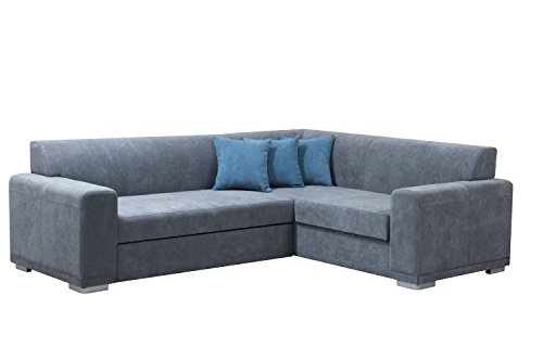 mb-moebel Ecksofa Eckcouch mit Bettkasten Sofa Couch L-Form Polsterecke Nile (Grau, Ecksofa Rechts)