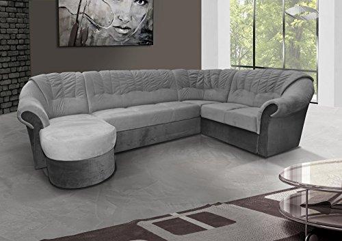 mb-moebel Ecksofa mit Schlaffunktion Eckcouch Sofa Couch mit Bettkästen L -Form Polsterecke Grau Frio 2 (Ecksofa Rechts)