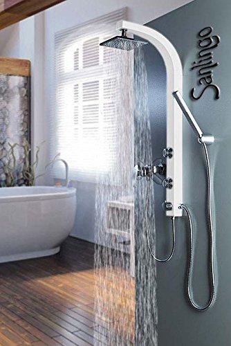 Weißes Duschpaneel Duschsäule mit Massagedüsen Eckig Regendusche Sanlingo