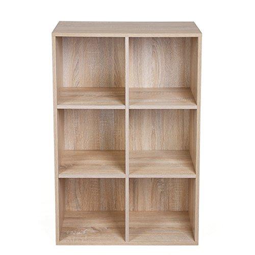 SONGMICS 6 Fächern Bücherregal Holzregal Flurregal Aufbewahrungsregal, 65,5 x 97,5 x 30,5 cm (B x H x T), Eichen-Optik, LBC203H